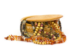 Clay casket with jewellery Stock Photos