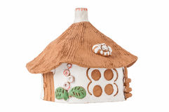 Clay house. Clay casket made ​​in folk style stock images