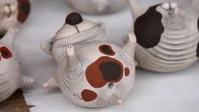 Clay cat toys. Funny clay handmade cat toy Stock Photography