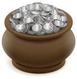 Clay ceramic pot with silver coins. On white vector illustration Royalty Free Stock Photo