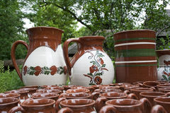 Clay chars. With Romanian traditional motifs royalty free stock photography