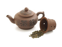 Clay chinese teapot. Isolated on white background Stock Images