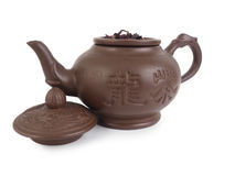 Clay chinese teapot, isolated on white background Royalty Free Stock Image