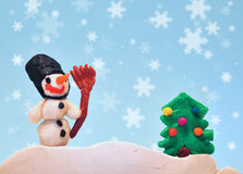 Clay Christmas Figures Stock Photography