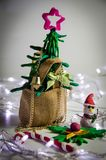 Clay christmas tree in sack bag ,Christmas background with festive decoration Stock Image