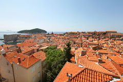 Clay city rooftops in Dubrovnik, overlooking Adria Stock Image