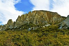 Clay cliff. Is in New Zealand. It was one of the most crazy things that i never see Stock Photo