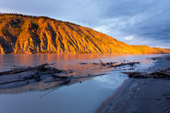 Clay cliff at Yukon River near Dawson City Stock Photos
