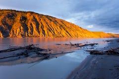 Clay cliff at Yukon River near Dawson City Stock Photos