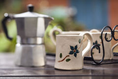 Clay coffee cup. A clay coffee cup put on the table Royalty Free Stock Image