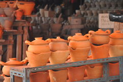 Clay cooking pot and stove Stock Images