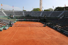 Clay court ready for Roland Garros 2015 at Le Stade Roland Garros Stock Photography