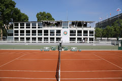 Clay court ready for Roland Garros 2015 at Le Stade Roland Garros Royalty Free Stock Images