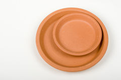 Clay Craft. Two Clay Terra Cotta Saucer Stock Photo
