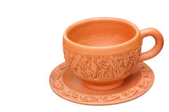Clay cup. With Thai pattern style isolated on white background Stock Images