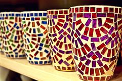 Clay cups with mosaic Stock Image