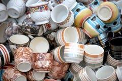 Clay cups randomly arranged for sale Royalty Free Stock Photos