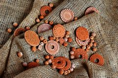 Clay decorations. Many clay ornaments lying in one place Royalty Free Stock Photos