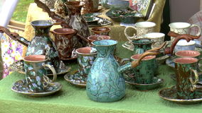 Clay dishes stock video