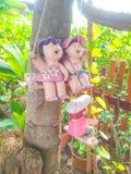 Clay doll tree ornaments. Background Royalty Free Stock Photos