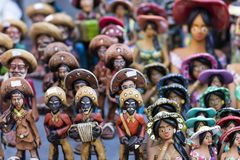 Clay dolls from Brazil. Concept of musicians and women. Clay dolls. Clay dolls from the north of Brazil. Clay dolls from Brazil. Concept of musicians and women stock image