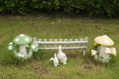 Clay dolls duck and mushroom decoration in garden. At outdoor of home Royalty Free Stock Photos