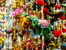 Clay dolls elephant. Chain dangling with India, soft focus Royalty Free Stock Photography