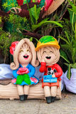 Clay dolls for garden decoration Stock Photo
