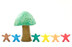 Clay of dolls and tree Royalty Free Stock Image