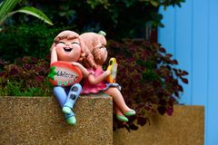 Clay dolls were placed in front of the building. Stock Photos