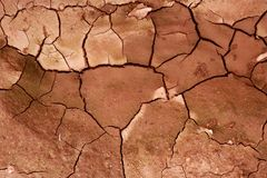 Clay dried red soil cracked texture background Stock Images