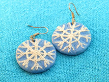 Clay earrings in winter style Royalty Free Stock Image