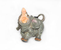 Clay elephant. On a white background Royalty Free Stock Images