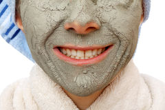The clay face mask effects. The clay face mask effect to have a healthy skin Royalty Free Stock Photography