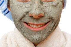 The clay face mask effects. The clay face mask effect to have a healthy skin Stock Images