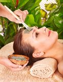 Clay facial mask in beauty spa. Royalty Free Stock Images