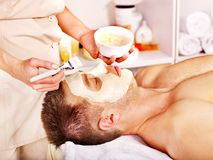 Clay facial mask in beauty spa. Stock Photography