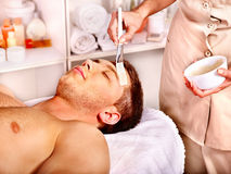 Clay facial mask in beauty spa. royalty free stock photo