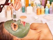 Clay facial mask in beauty spa. Stock Photos