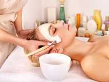Clay facial mask in beauty spa Royalty Free Stock Photo