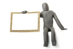 Clay Figure Sign Arkivbild