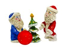 Clay figures of Santa Claus isolated on white Royalty Free Stock Images
