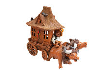 Clay figurine oxen and covered wagon Stock Images