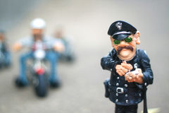 Clay figurine police. For the children's room decorations Stock Photo