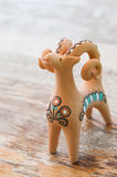 Clay figurine sheep. Whistles royalty free stock images