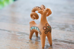Clay figurine sheep. Whistles Stock Images