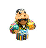 Clay figurine of uzbek man. With watermelon and melon in hands royalty free stock photo