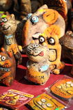 Clay figurines of funny cats. KRASNODAR, RUSSIA - SEPTEMBER 28 - Clay figurines of funny cats, Krasnodar city day on 28, September in Krasnodar royalty free stock photo