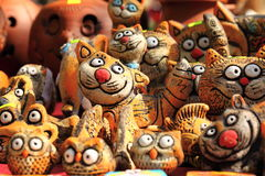 Clay figurines of funny cats Stock Image