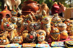 Clay figurines of funny cats. KRASNODAR, RUSSIA - SEPTEMBER 28 - Clay figurines of funny cats, Krasnodar city day on 28, September in Krasnodar stock images
